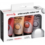 Reeves™ Acrylic 4-Color Metallic Set: Metallic, Multi, Tube, 75 ml, Acrylic