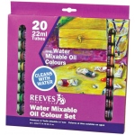 Reeves™ Water Mixable Oil 20-Color Set: Multi, Tube, 22 ml, Oil, (model 8190112), price per set