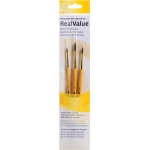 Princeton™ RealValue™ Watercolor Acrylic and Tempera Camel Brush Set: Short Handle, Natural, Round, Acrylic, Tempera, Watercolor