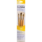 Princeton™ RealValue™ Watercolor Acrylic and Tempera Camel Brush Set: Short Handle, Natural, Round, Shader, Acrylic, Tempera, Watercolor, (model 9101), price per set