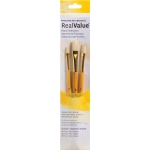 Princeton™ RealValue™ Oil Acrylic and Stain Bristle Brush Set: Short Handle, Bristle, Flat, Acrylic, Oil, Stain