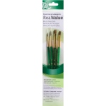 Princeton™ RealValue™ Watercolor Acrylic and Tempera Camel Brush Set: Short Handle, Natural, Shader, Acrylic, Tempera, Watercolor, (model 9110), price per set