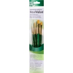 Princeton™ RealValue™ Watercolor Acrylic and Tempera Golden Taklon Brush Set: Short Handle, Taklon, Round, Shader, Acrylic, Oil, Stain