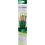 Princeton™ RealValue™ Watercolor Acrylic and Tempera White Taklon Brush Set: Short Handle, Taklon, Angular Shader, Round, Shader, Acrylic, Tempera, Watercolor, (model 9117), price per set