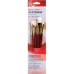 Princeton™ RealValue™ Watercolor Acrylic and Tempera White Taklon Brush Set: Short Handle, Taklon, Angular, Fan, Round, Wash, Acrylic, Tempera, Watercolor, (model 9120), price per set