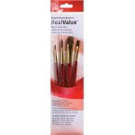 Princeton™ RealValue™ Watercolor Acrylic and Tempera Camel Brush Set: Short Handle, Natural, Round, Wash, Acrylic, Tempera, Watercolor