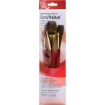 Princeton™ RealValue™ Watercolor Acrylic and Tempera Camel Brush Set: Short Handle, Natural, Round, Wash, Acrylic, Tempera, Watercolor, (model 9122), price per set