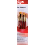 Princeton™ RealValue™ Watercolor Acrylic and Tempera Golden Taklon Brush Set: Short Handle, Taklon, Angular, Round, Shader, Acrylic, Tempera, Watercolor, (model 9123), price per set