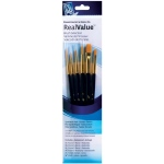 Princeton™ RealValue™ Watercolor Acrylic and Tempera Golden Taklon Brush Set: Taklon, Filbert, Round, Script, Wash, Acrylic, Tempera, Watercolor