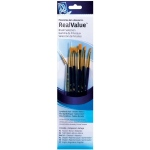 Princeton™ RealValue™ Watercolor Acrylic and Tempera Brush Golden Taklon Set: Synthetic, Angular, Fan, Round, Shader, Acrylic, Tempera, Watercolor