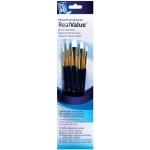 Princeton™ RealValue™ Watercolor Acrylic and Tempera White Taklon Brush Set: Short Handle, Taklon, Angular Shader, Round, Shader, Acrylic, Tempera, Watercolor, (model 9136), price per set