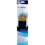 Princeton™ RealValue™ Watercolor Acrylic and Tempera Golden Taklon Brush Set: Short Handle, Taklon, Round, Shader, Acrylic, Tempera, Watercolor, (model 9137), price per set