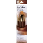 Princeton™ RealValue™ Watercolor Acrylic and Tempera Brush Golden Taklon Set: Short Handle, Taklon, Liner, Round, Shader, Acrylic, Tempera, Watercolor