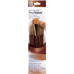 Princeton™ RealValue™ Watercolor Acrylic and Tempera Brush Golden Taklon Set: Short Handle, Taklon, Angular, Liner, Round, Wash, Acrylic, Tempera, Watercolor