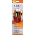 Princeton™ RealValue™ Watercolor Acrylic and Tempera White Taklon Brush Set: Short Handle, Taklon, Angular Shader, Liner, Round, Wash, Acrylic, Tempera, Watercolor