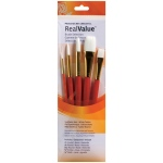 Princeton™ RealValue™ Watercolor Acrylic and Tempera White Taklon Brush Set: Short Handle, Taklon, Round, Stroke, Wash, Acrylic, Tempera, Watercolor, (model 9152), price per set
