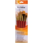 Princeton™ RealValue™ Watercolor Acrylic and Tempera Brush Golden Taklon Set: Short Handle, Taklon, Angular Shader, Liner, Round, Wash, Acrylic, Tempera, Watercolor, (model 9153), price per set