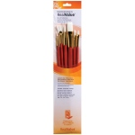 Princeton™ RealValue™ Oil Acrylic and Stain White Taklon Brush Set: Long Handle, Taklon, Angular, Fan, Filbert, Flat, Round, Acrylic, Oil, Stain, (model 9156), price per set