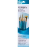 Princeton™ RealValue™ Watercolor Acrylic and Tempera Golden Taklon Brush Set: Short Handle, Taklon, Fan, Liner, Round, Acrylic, Tempera, Watercolor, (model 9170), price per set