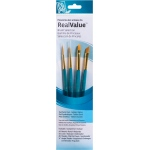 Princeton™ RealValue™ Watercolor Acrylic and Tempera Golden Taklon Brush Set: Short Handle, Taklon, Liner, Round, Acrylic, Tempera, Watercolor, (model 9173), price per set