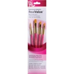 Princeton™ RealValue™ Watercolor Acrylic and Tempera Golden Taklon Brush Set: Short Handle, Taklon, Round, Shader, Acrylic, Tempera, Watercolor, (model 9181), price per set