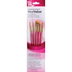 Princeton™ RealValue™ Watercolor Acrylic and Tempera Golden Taklon Brush Set: Short Handle, Taklon, Filbert, Flat Shader, Grainer, Liner, Round, Acrylic, Tempera, Watercolor, (model 9184), price per set
