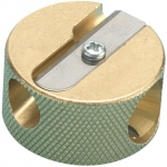Alvin® Solid Brass Double-Hole Round Pencil Sharpener : Metallic, One, Brass, 12-Box, Manual, (model 9867), price per dozen (12-pack)