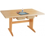 "Shain Pedestal Tables: Maple Top, 1¾"", with Tote Trays"