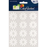 "Blue Hills Studio™ ColorStories™ Flocked Daisy Stickers White: White/Ivory, Flock, 4 3/4"" x 5 3/4"", Flat"