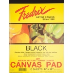 "Fredrix® 9"" x 12"" Black Canvas Pad: Black/Gray, Pad, 9"" x 12"", Primed, (model T35001), price per pad"