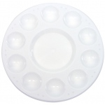 "Heritage Arts™ 10-Well Plastic Palette Without Lid: White/Ivory, Plastic, 10 Wells, Round, 6 3/4"", Tray"