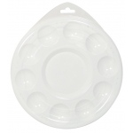 "Heritage Arts™ 10-Well Plastic Palette With Lid: White/Ivory, Cover, Plastic, 10 Wells, Round, 6 3/4"", Tray"