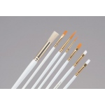 Princeton™ White Taklon Brush Set Watercolor Acrylic and Tempera Round 5 Bright 10 Flat 12: Taklon, Bright, Flat, Round, Acrylic, Tempera, Watercolor, (model 9310), price per set