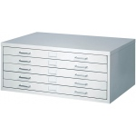 "Safco® Facil™ Small Flat File Cabinet: Black/Gray, Steel, 5-Drawer, 26""d x 40 1/4""w x 16 1/2""h"