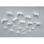 "Wee Scapes™ Architectural Model Animal Figures 20-Pack: White/Ivory, Plastic, 20-Pack, 3/8"" - 1"", Animals, (model WS00354), price per 20-Pack"