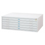 "Safco Steel Flat File: 5 Drawers, White, 16 1/2"" x 53 3/8"" x 41 3/8"""