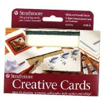 "Strathmore® 3.5 x 4.875 White/Red Deckle Creative Cards: Red/Pink, White/Ivory, Envelope Included, Card, 10 Cards, 3 1/2"" x 4 7/8"", 80 lb"