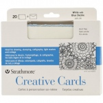 "Strathmore® 5 x 6.875 White/Blue Deckle Creative Cards 20-Pack: Blue, White/Ivory, Envelope Included, Card, 20 Cards, 5"" x 6 7/8"", 80 lb, (model ST105-35), price per 20 Cards"