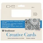 "Strathmore® 3.5 x 4.875 Palm Beach/Plain Edge Creative Cards: Blue, White/Ivory, Envelope Included, Card, 10 Cards, 3 1/2"" x 4 7/8"", 80 lb"