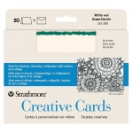 Strathmore 5 x 6.875 White/Emerald Deckle Creative Cards 50-Pack