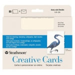 "Strathmore® 5 x 6.875 Ivory/Deckle Creative Cards 50-Pack: White/Ivory, Envelope Included, Card, 50 Cards, 5"" x 6 7/8"", 80 lb"