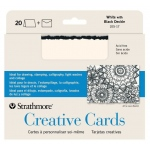 "Strathmore® 5 x 6.875 White/Black Deckle Creative Cards 20-Pack: Black/Gray, White/Ivory, Envelope Included, Card, 20 Cards, 5"" x 6 7/8"", 80 lb"