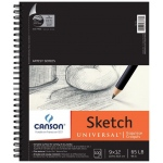 "Canson® Artist Series Universal™ 9"" x 12"" Sketch Pad: Wire Bound, White/Ivory, Pad, 100 Sheets, 9"" x 12"", Fine, (model C100510851), price per 100 Sheets pad"