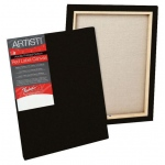 "Fredrix® Artist Series Red Label Red Label 20"" x 22"" Standard Stretched Black Canvas: Black/Gray, Panel, Gesso, 20"" x 22"", 11/16"", 11/16"" x 1 9/16"", Stretched, (model T50259), price per each"