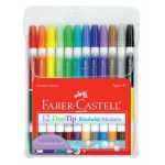 Faber-Castell® DuoTip Washable 12 Marker Set: Double-Ended, Water-Based, Washable, (model FC153012), price per set