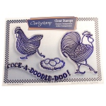 Claritystamp - Dancing Cockerel & Hen Stamp Set with Masks