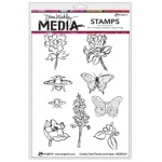 Ranger - Dina Wakley Media - Cling Stamps - Scribbly Flowers & Insects