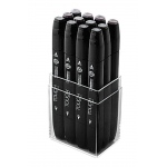 ShinHan Art TOUCH Twin 12-Piece Warm Grey Marker Set: Black, Black/Gray, Double-Ended, Alcohol-Based, Refillable, Dual, (model 1101201), price per set