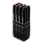 ShinHan Art TOUCH Twin 12-Piece Main Colors Marker Set: Black, Double-Ended, Alcohol-Based, Refillable, Dual, (model 1101213), price per set