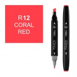ShinHan Art TOUCH Twin Coral Red Marker: Black, Red/Pink, Double-Ended, Alcohol-Based, Refillable, Dual, (model 1110012-R12), price per each